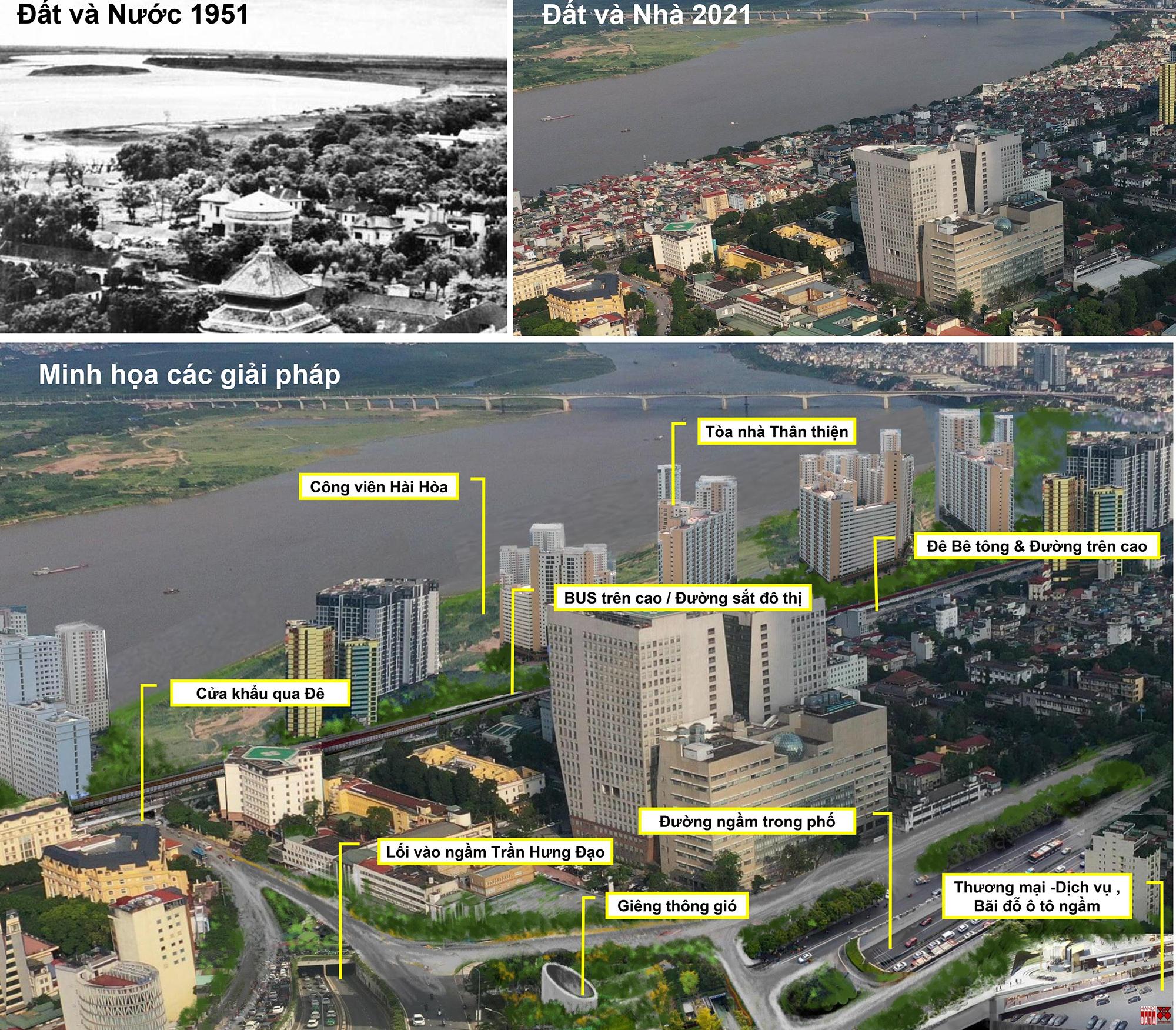 Minh họa tích hợp các công trình chung quanh đầu cầu Trần Hưng Đạo. Nguồn ảnh do City Solution&Hanoidata cung cấp