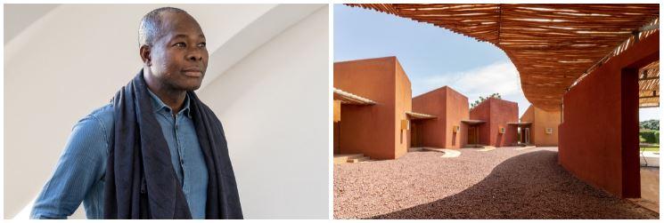 Chân dung Francis Kéré (trái), Nhà ở Bác sĩ tại Phòng khám Phẫu thuật và Trung tâm Y tế, Burkina Faso.(2014) (phải).