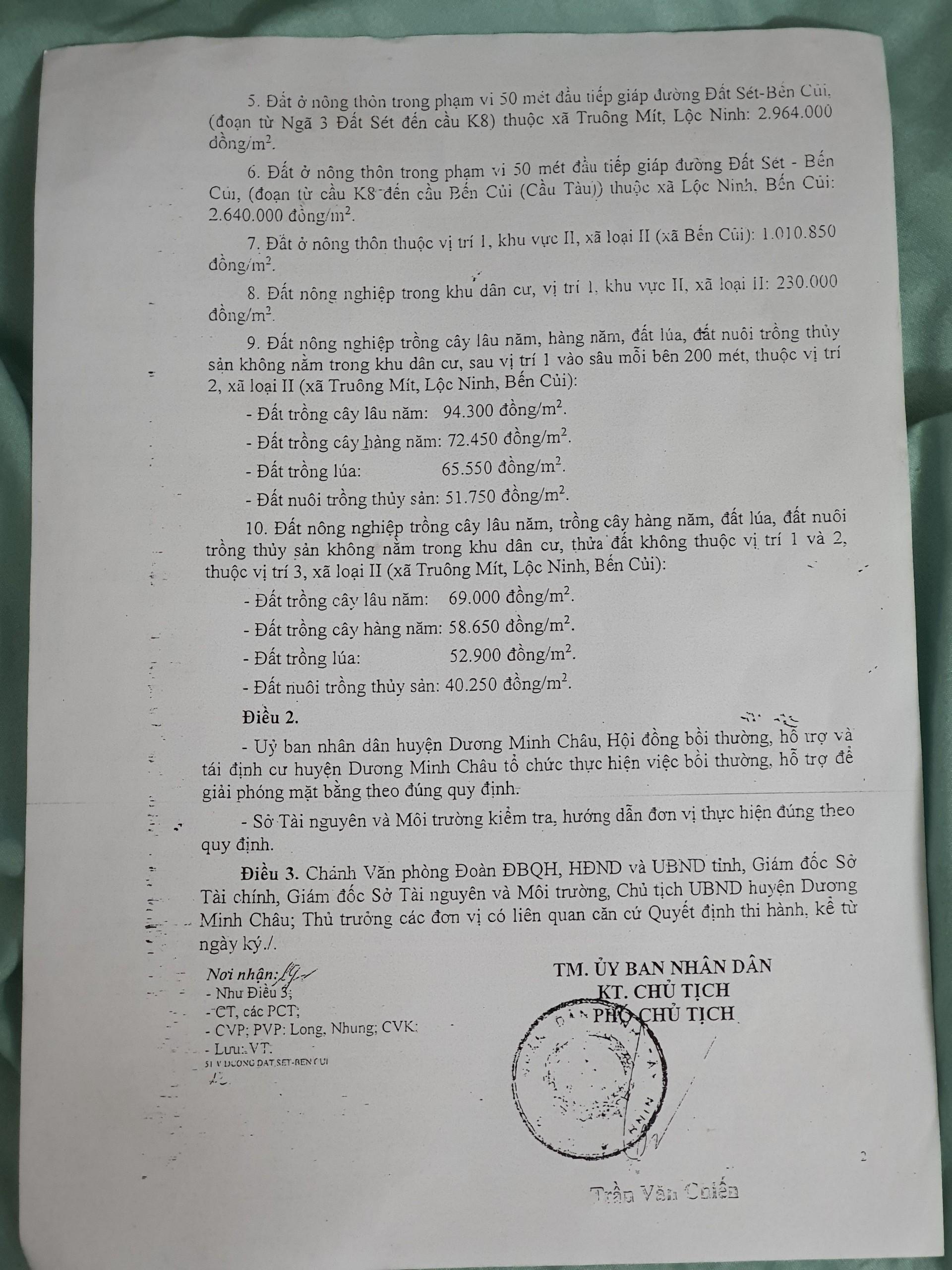 Quyết định 245/QĐ-UBND về việc phê duyệt giá đất cụ thể để bồi thường đất thực hiện công trình đường Đất Sét – Bến Củi, huyện Dương Minh Châu.