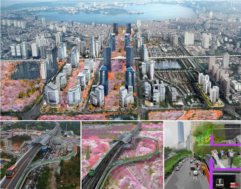 """City Solution đề xuất mô hình """"Vườn đào Nhật Tân: Ngày mới chức năng mới"""". Kết nối giao thông bằng xe buýt (có thể chuyển thành đường sắt) trên cao từ Ga Thủ Lệ tới Tây Hồ Tây."""