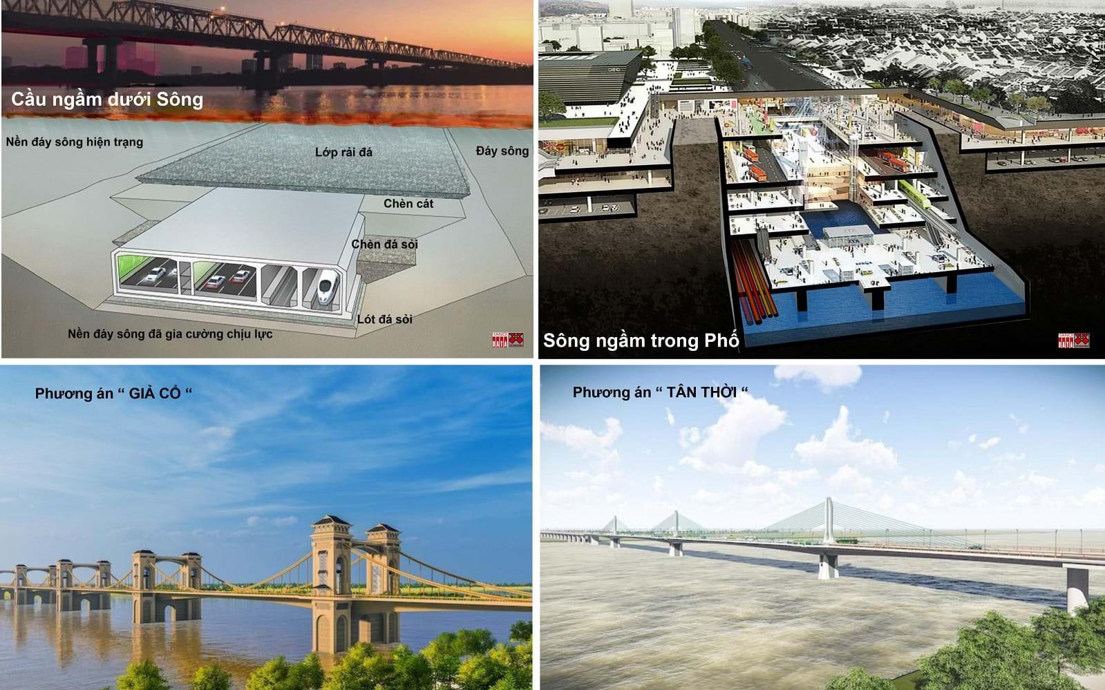 Minh họa phương án cầu/ngầm Trần Hưng Đạo: cầu ngầm hay cầu nổi phụ thuộc vào chiều cao tĩnh không quy định. Nguồn ảnh do City Solution&Hanoidata cung cấp