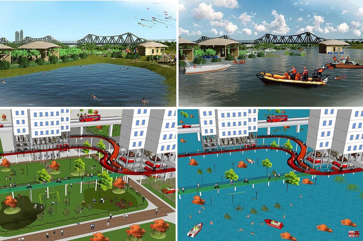 Bờ bãi sông Hồng làm Công viên Hài hòa mùa khô, thao trường tập luyện mùa lũ. Tòa nhà   Thân thiện, an toàn trong hai mùa lũ cạn. Nguồn: City solution