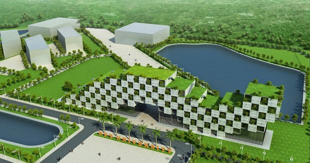 Công trình nhà hiệu bộ của Đại học FPT cơ sở Hòa Lạc là một trong những ví dụ về sáng tạo những giải pháp kiến trúc mới lạ