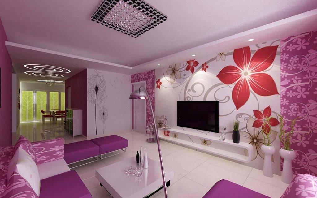 Hoa oải hương tràn ngập bức tường phòng khách