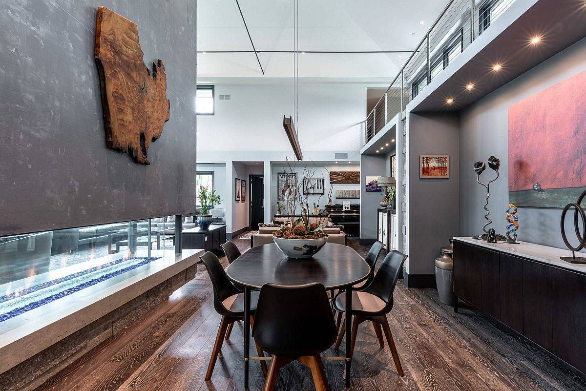 Không gian ăn uống lộng lẫy trở thành một phần của khu vực sinh hoạt và cũng là phần mở rộng của nhà bếp