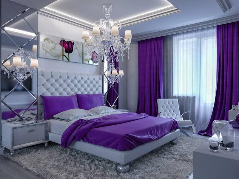 Căn phòng ngủ cân bằng giữa sắc xám và tím