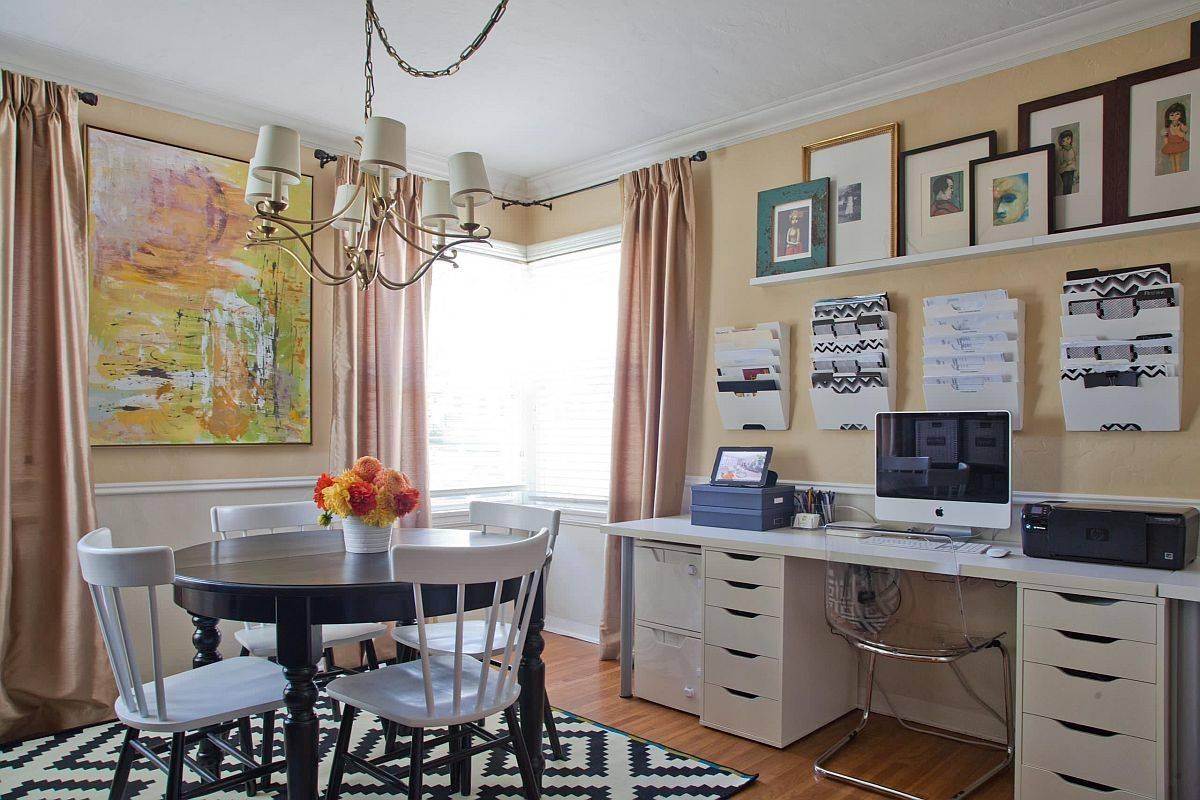 Văn phòng tại nhà và phòng ăn được hòa làm một dễ dàng bên trong ngôi nhà hiện đại thông minh này