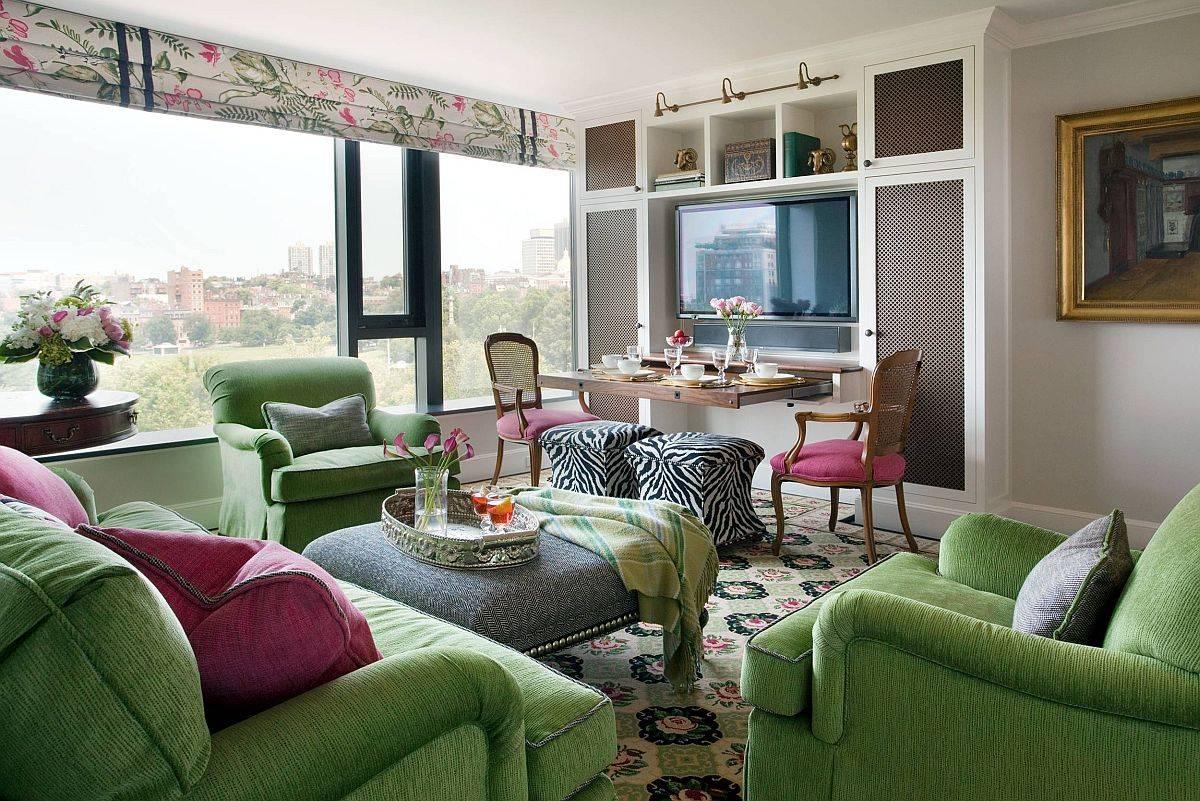 Thiết kế phòng khách linh hoạt và tiết kiệm không gian với khu vực ăn uống thông minh trong góc