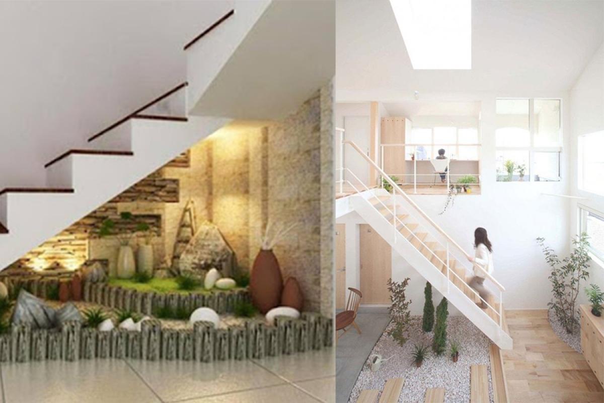 Khu vườn nhỏ: Nếu bạn đang có ý định xây dựng mẫu tiểu cảnh trong nhà mình thì gầm cầu thang sẽ là nơi thích hợp cho bạn thực hiện điều đó. Đồng thời điều này cũng mang lại cho bạn một không gian trong lành, thoáng đãng.