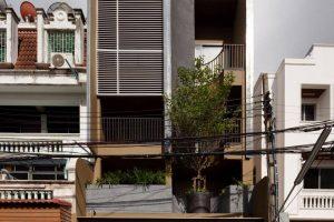 Nhà phố 4 tầng thoáng sáng dành cho gia đình 3 thế hệ của gia chủ yêu thích hình học